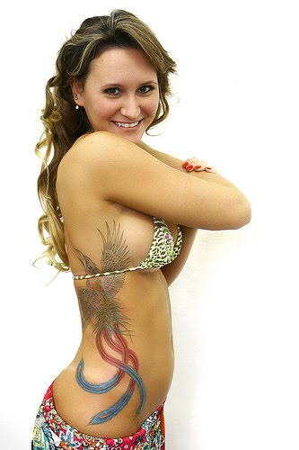 Hot Model With Phoenix Tattoo On Ribs