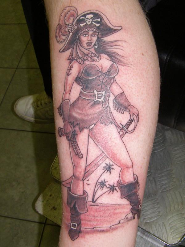 Hot Pirate Pin Up Girl Tattoo On Leg For Boys