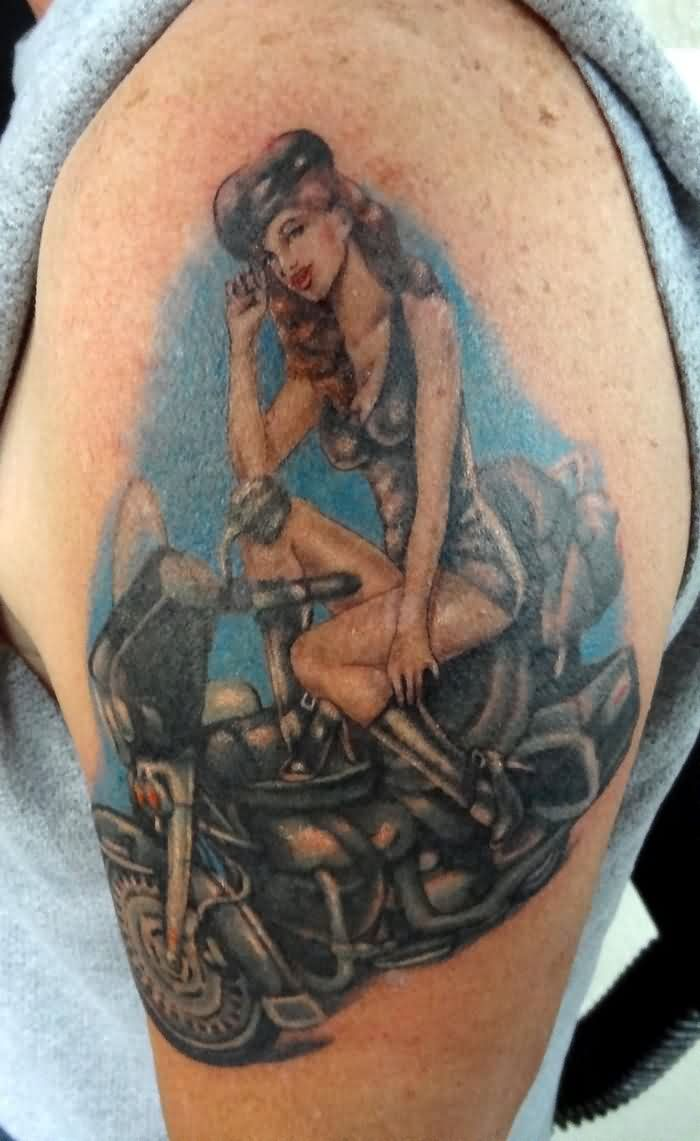 Hot Slim Pin Up Girl On Bike Tattoo