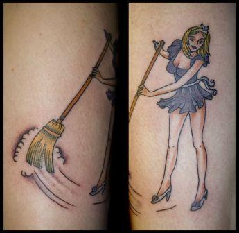 Hot Sweeper Pinup Girl Tattoo