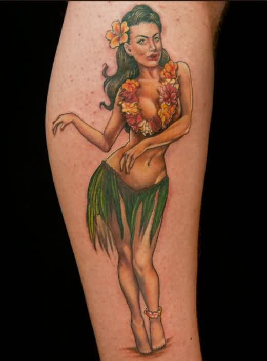 Hula Pin Up Dancing Tattoo