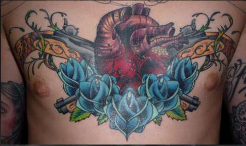 Human Heart Flintlock Pistols And Blue Roses Tattoos On Chest
