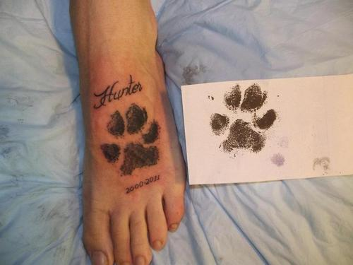 Hunter Paw Print Memorial Tattoo On Foot