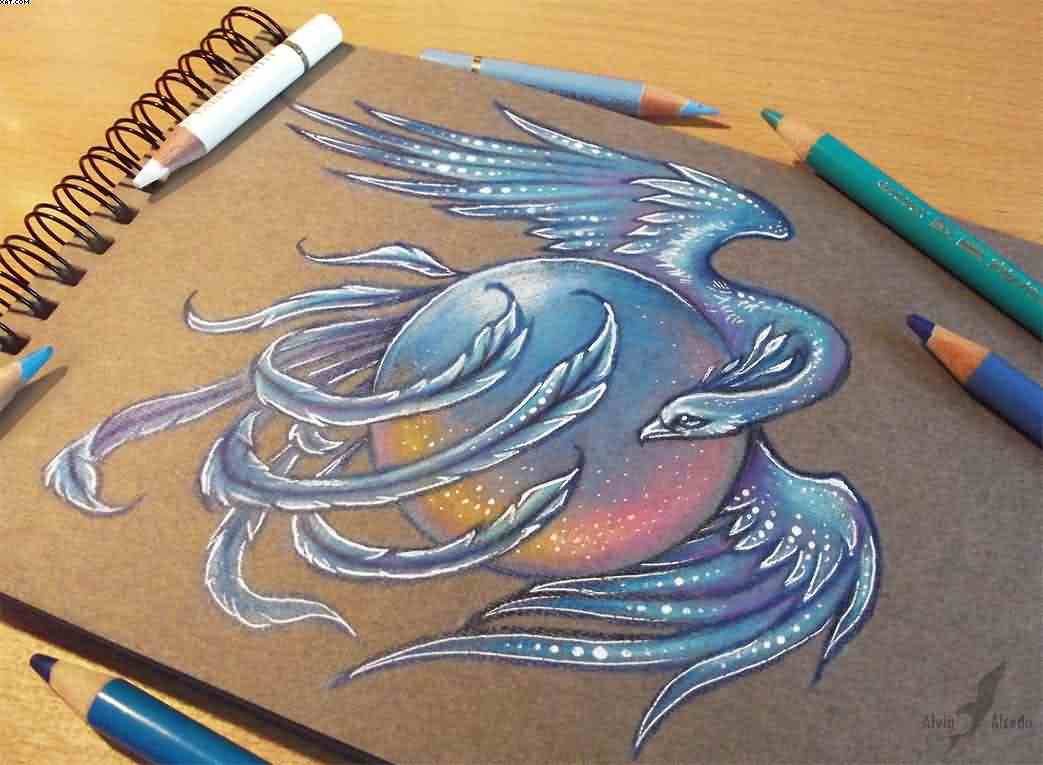 Ice Phoenix Tattoo Design
