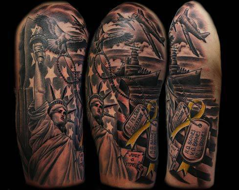 Impressive Army Patriotic Sleeve Tattoos