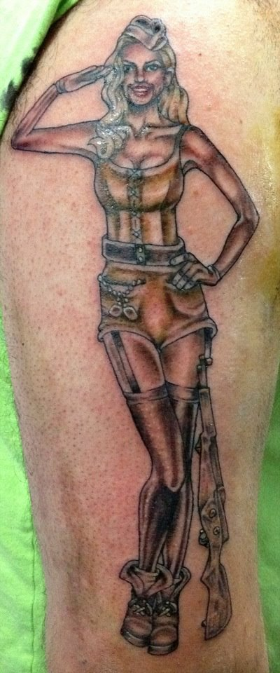 Impressive Army Pin Up Salute Tattoo On Arm
