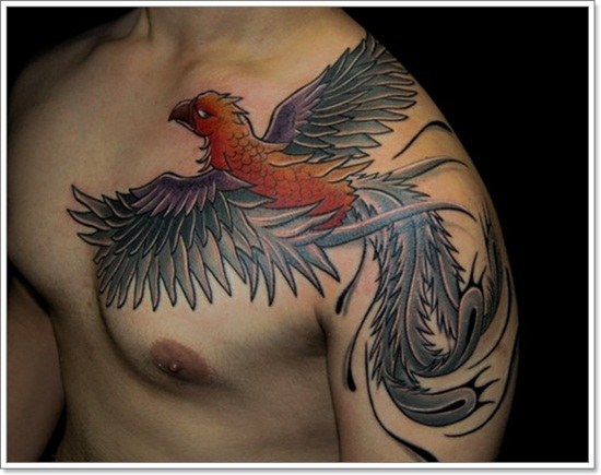 Impressive Flying Phoenix Tattoo On Shoulder To Chest