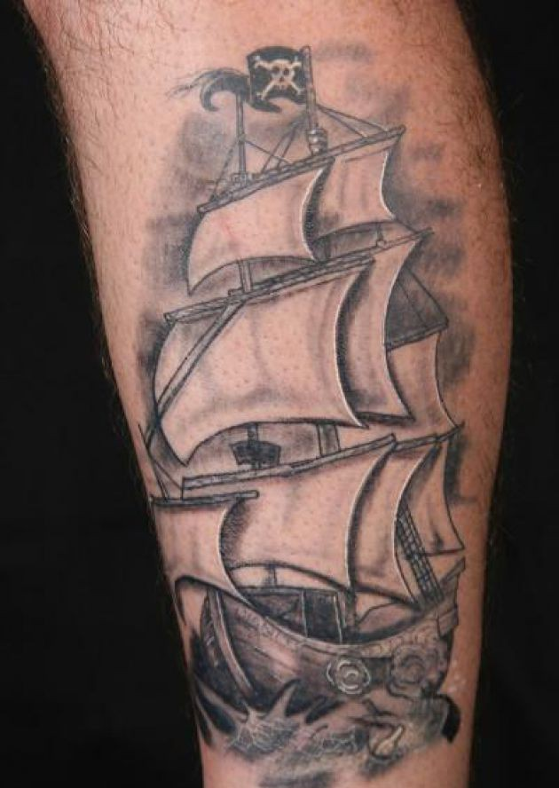 Impressive Original Pirate Ship Tattoo On Leg