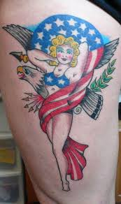 Impressive Patriotic Pin Up Girl Tattoo