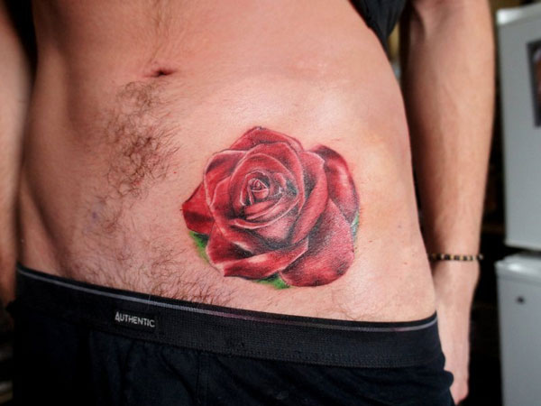 Impressive Realistic Rose Tattoo On Hip