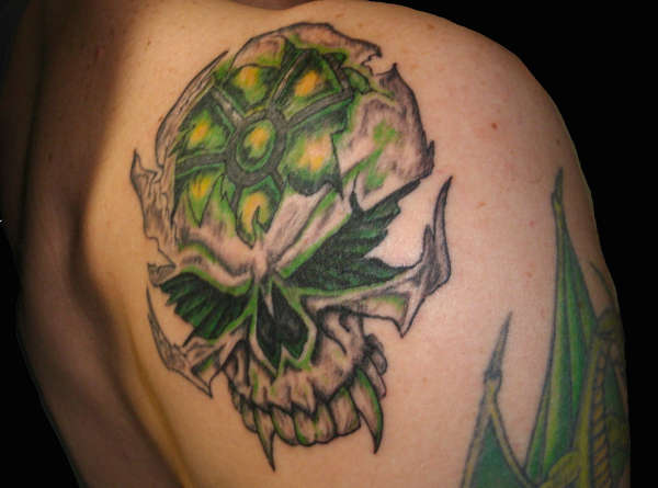 Incredible Bbiohazard Skull Tattoo Behind Shoulder