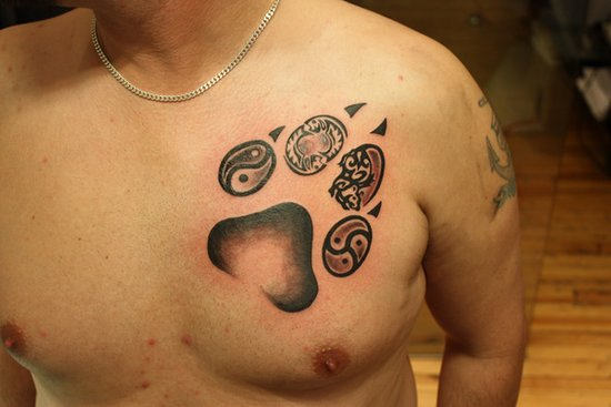 Incredible Bear Paw Tattoo On Chest