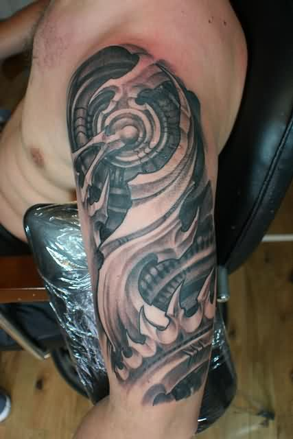 Incredible Biomechanical Tattoo On Arm