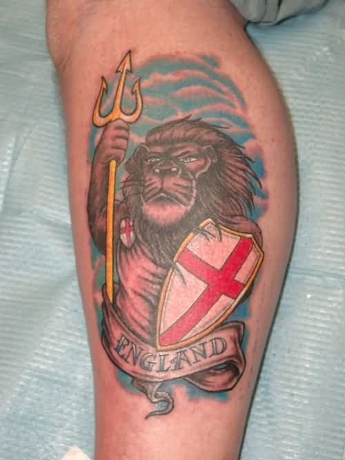 Incredible British Lion Tattoo On Leg