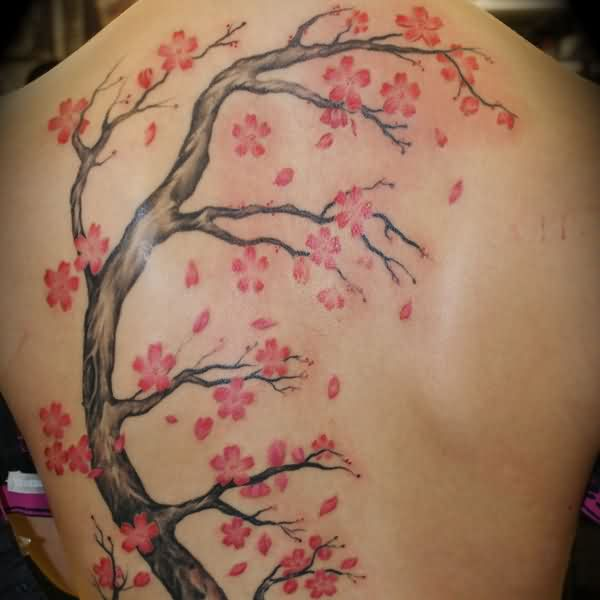 Incredible Cherry Blossom Branch Tattoo On Back
