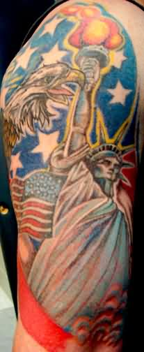 Incredible Colored Patriotic Tattoos On Sleeve