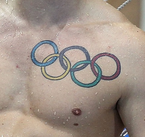 Incredible Colorful Olympic Circle Tattoos On Chest