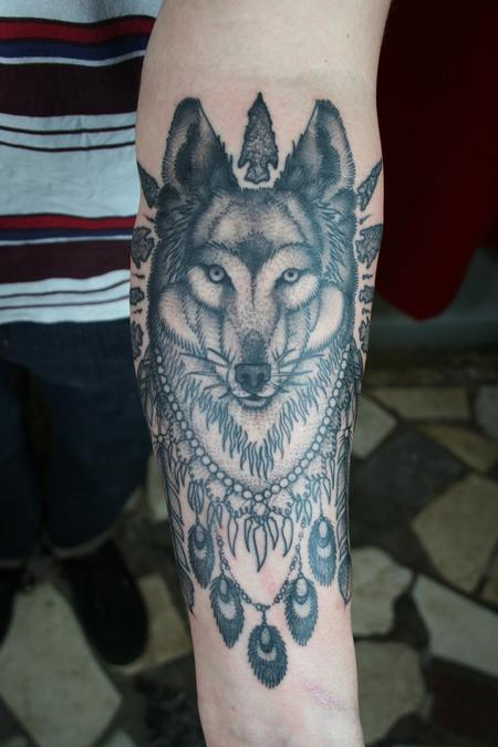 Incredible Grey Ink Native American Tattoo On Arm