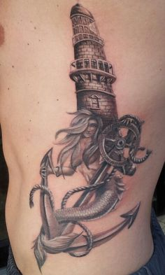 Incredible Grey Nautical Tattoos On Ribs