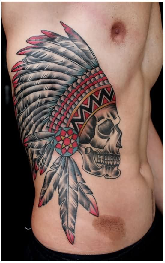 Incredible Native American Skull Tattoo On Right Side