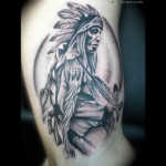 Incredible Native American Tattoo On Muscles