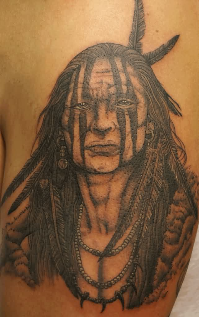 Incredible Native American Warrior Tattoo