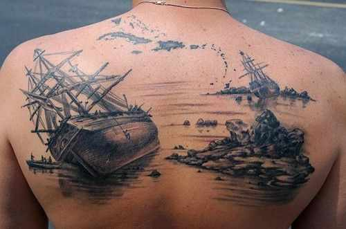 Incredible Nautical Tattoos On Upperback