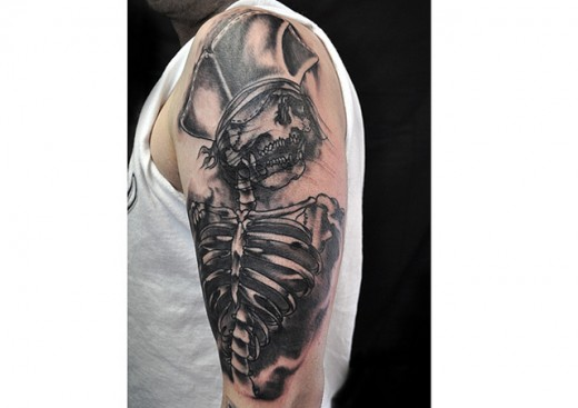 Incredible Pirate Skeleton Tattoo On Arm