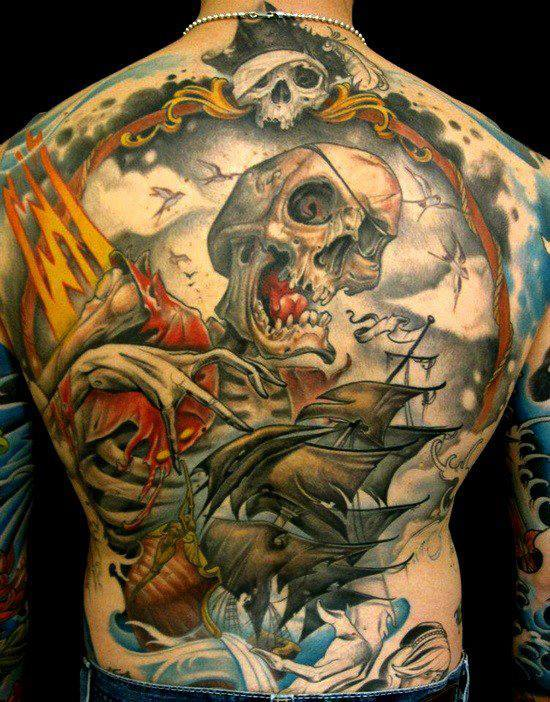 Incredible Pirate Tattoos On Entire Back