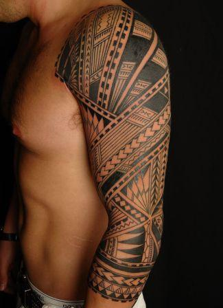 Incredible Polynesian Sleeve Tattoo For Men