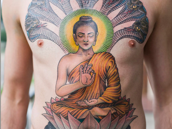 Incredible Religious Budhha Tattoo On Upperbody