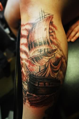 Incredible Sailing Pirate Ship Tattoo