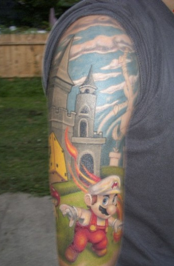 Incredible Super Mario Sleeve Tattoos