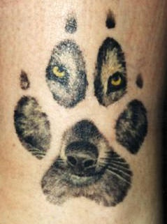 Incredible Wolf Paw Print Tattoo