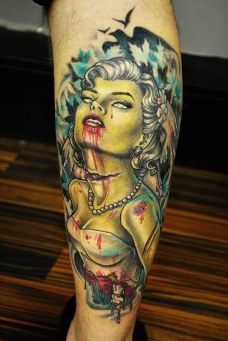 Injured Zombie Pin Up Tattoo On Leg