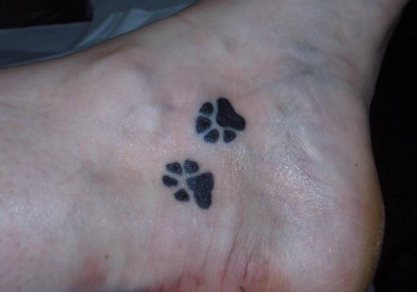 Inner Ankle Heart Paw Print Tattoos