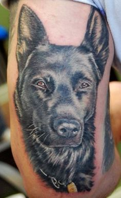 Innocent Black Dog Portrait Tattoo