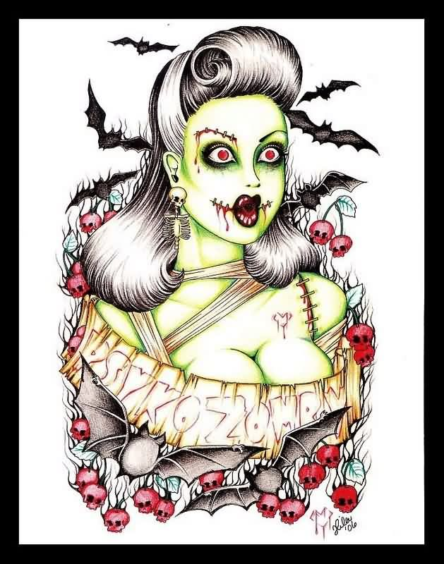 Insane zombie Pin Up Girl And Bats Tattoo Photo