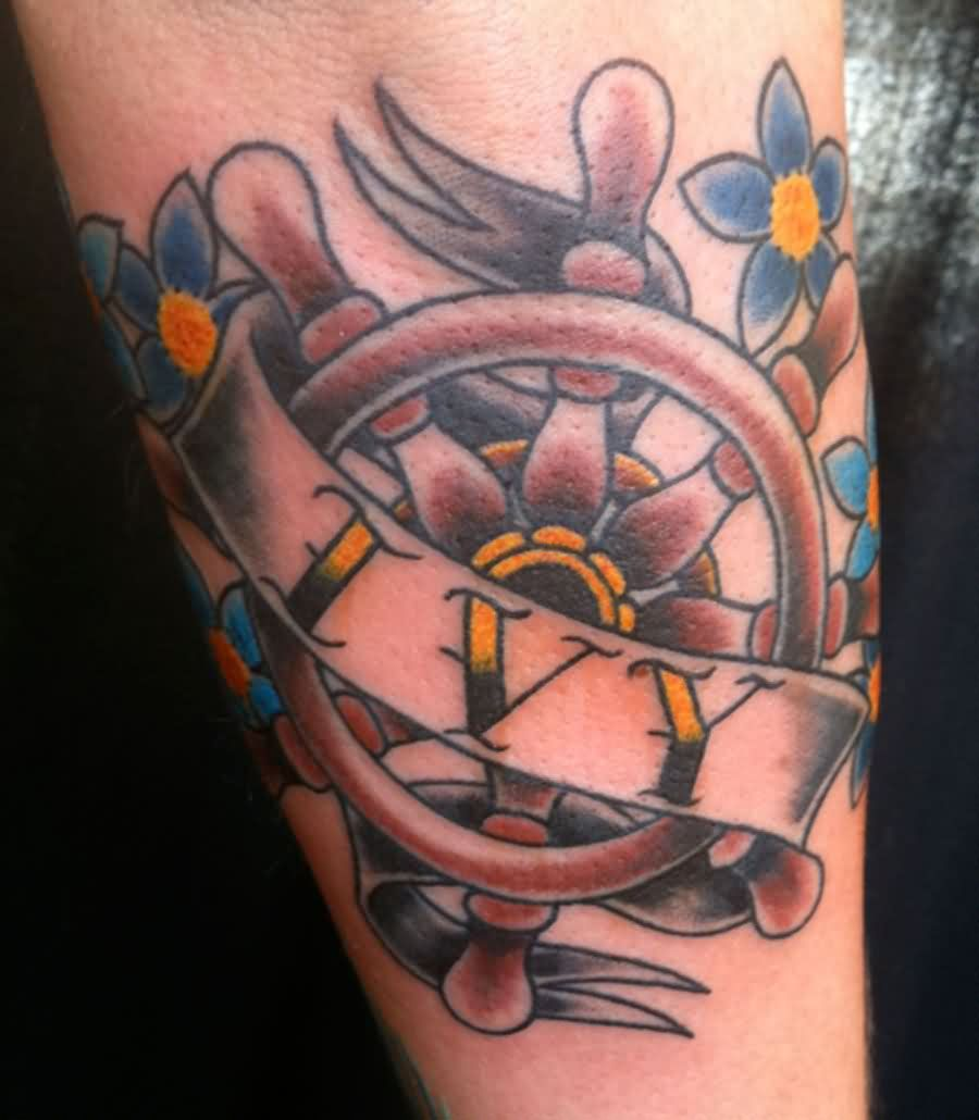 Ivy Nautical Wheel And Small Flower Tattoos