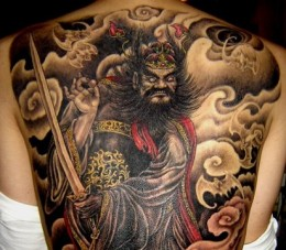 Japanese Clouds And People Tattoos On Whole Back