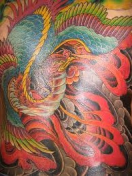Japanese Dragon And Phoenix Tattoos On Whole Back