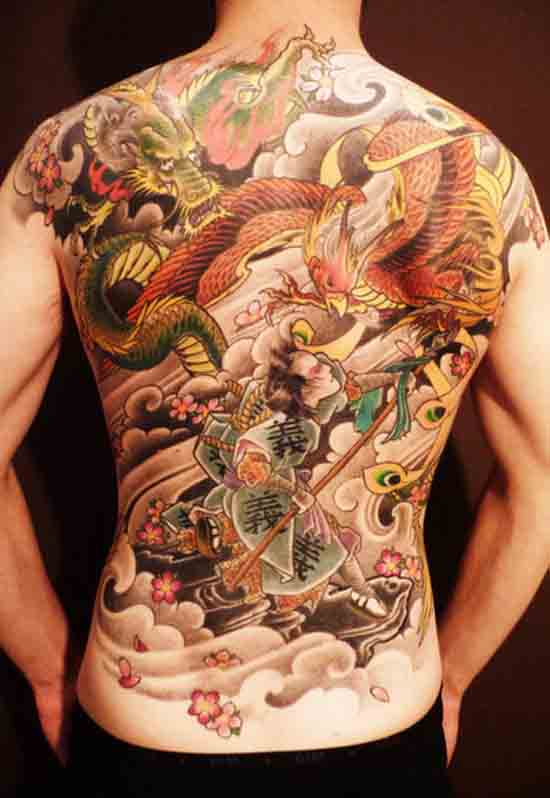 Japanese Dragon Phoenix And Warrior Tattoos On Whole Back