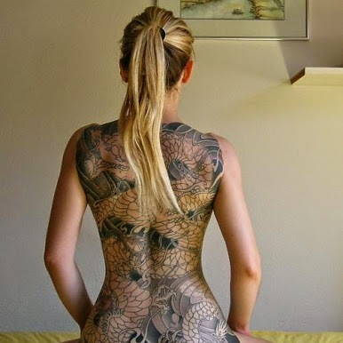 Japanese Dragon Tattoo On Entire Back Of Girl