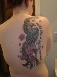 Japanese Grey Phoenix And Flowers Tattoos On Back