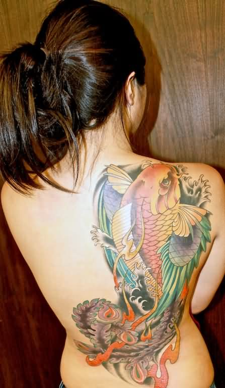Japanese Koi Phoenix Tattoo On Back