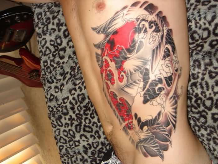 Japanese Koi Pisces Tattoos On Side For Guys