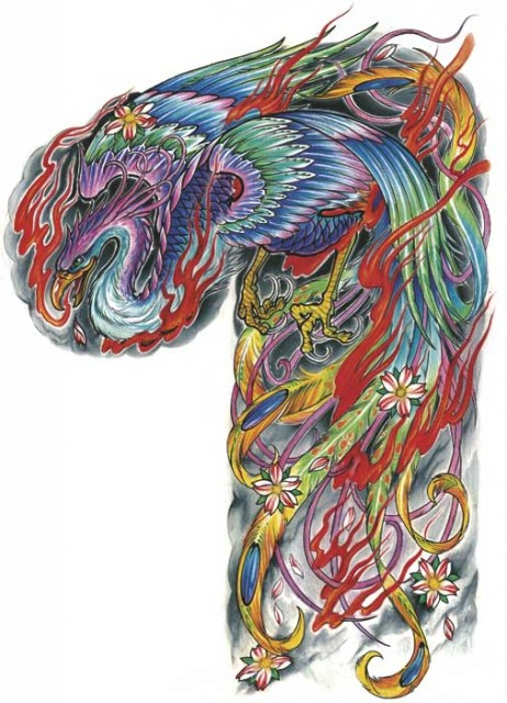Japanese Phoenix And Flames Tattoos On Sleeve