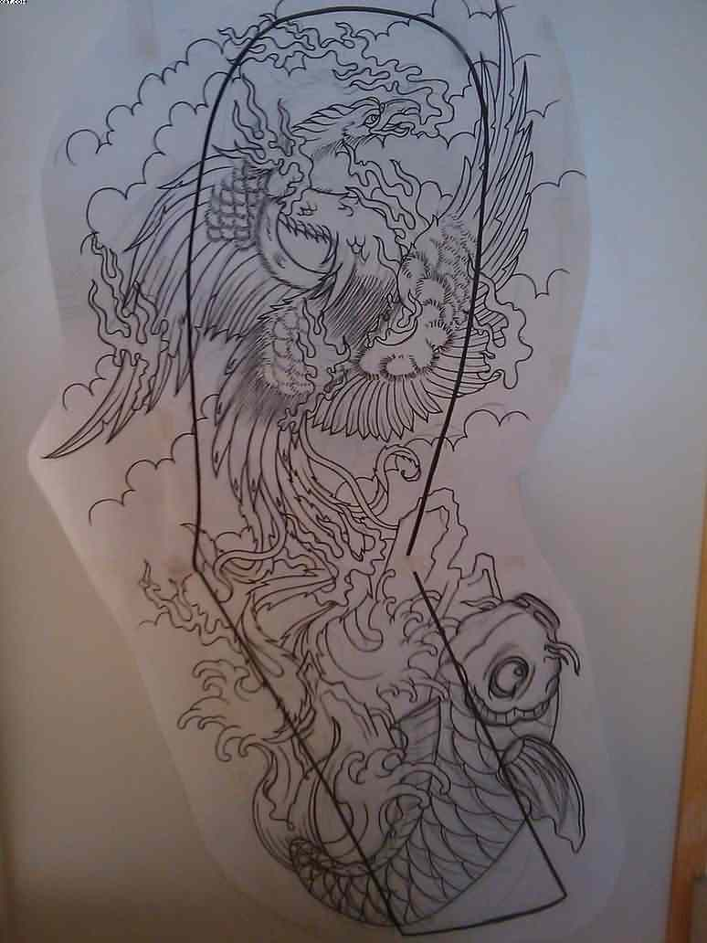Japanese Phoenix And Koi Fish Tattoo For Sleeve