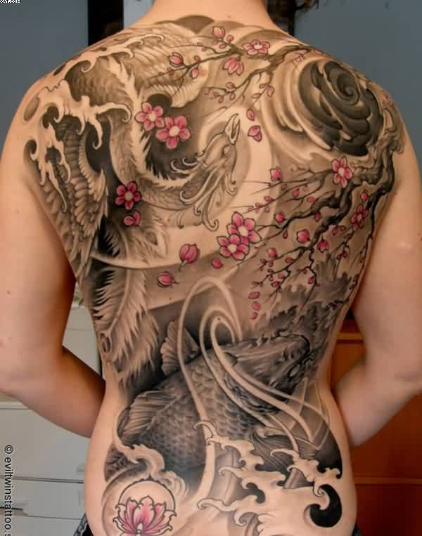 Japanese Phoenix Blossoms And Koi Fish Tattoos On Entire Back