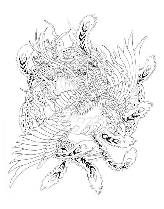 Japanese Phoenix Tattoo Design